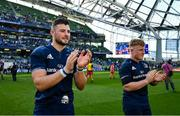 21 April 2019; Robbie Henshaw, left, and James Tracy of Leinster following the Heineken Champions Cup Semi-Final match between Leinster and Toulouse at the Aviva Stadium in Dublin. Photo by Ramsey Cardy/Sportsfile