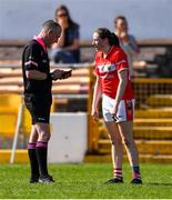 21 April 2019; Áine O'Sullivan of Cork in conversation with referee Niall McCormack before being sent off during the Lidl NFL Division 1 semi-final match between Cork and Dublin at the Nowlan Park in Kilkenny. Photo by Piaras Ó Mídheach/Sportsfile
