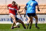 21 April 2019; Melissa Duggan of Cork scores her side's first goal as Nicole Owens of Dublin closes in during the Lidl NFL Division 1 semi-final match between Cork and Dublin at the Nowlan Park in Kilkenny. Photo by Piaras Ó Mídheach/Sportsfile