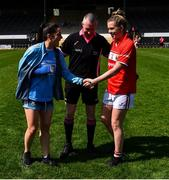 21 April 2019; Referee Niall McCormack with injured Dublin player Sinéad Goldrick and Máire O'Callaghan of Cork ahead of the pre-match coin toss before the Lidl NFL Division 1 semi-final match between Cork and Dublin at the Nowlan Park in Kilkenny. Photo by Piaras Ó Mídheach/Sportsfile