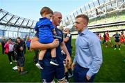 21 April 2019; Devin Toner with his son Max, and Leinster team-mate Dan Leavy following the Heineken Champions Cup Semi-Final match between Leinster and Toulouse at the Aviva Stadium in Dublin. Photo by Ramsey Cardy/Sportsfile