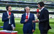 21 April 2019; Virgin Media television pitchside studio, from left, presenter Joe Molloy  and analysts Matt Williams and Shane Horgan prior to the Heineken Champions Cup Semi-Final match between Leinster and Toulouse at the Aviva Stadium in Dublin. Photo by Brendan Moran/Sportsfile