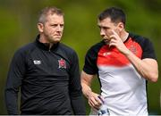 22 April 2019; Brian Gartland of Dundalk speaks with Dundalk head coach Vinny Perth prior to during the SSE Airtricity League Premier Division match between UCD and Dundalk at the UCD Bowl, Belfield in Dublin. Photo by Harry Murphy/Sportsfile