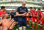 21 April 2019; Devin Toner of Leinster leads his side off the pitch after the Heineken Champions Cup Semi-Final match between Leinster and Toulouse at the Aviva Stadium in Dublin. Photo by Brendan Moran/Sportsfile