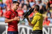 20 April 2019; Conor Murray of Munster speaks to Assistant referee Romain Poite during the Heineken Champions Cup Semi-Final match between Saracens and Munster at the Ricoh Arena in Coventry, England. Photo by Brendan Moran/Sportsfile