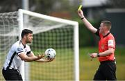 22 April 2019; Patrick Hoban of Dundalk reacts after recieving a yellow card from referee Damien MacGraith during the SSE Airtricity League Premier Division match between UCD and Dundalk at the UCD Bowl, Belfield in Dublin. Photo by Harry Murphy/Sportsfile