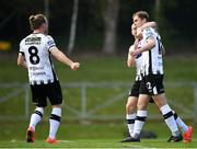22 April 2019; Georgie Kelly of Dundalk, right, celebrates after scoring his side's third goal with team-mates John Mountney and Michael Duffy during the SSE Airtricity League Premier Division match between UCD and Dundalk at the UCD Bowl, Belfield in Dublin. Photo by Harry Murphy/Sportsfile