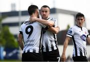 22 April 2019; Michael Duffy of Dundalk celebrates after scoring his side's second goal with team-mate Patrick Hoban during the SSE Airtricity League Premier Division match between UCD and Dundalk at the UCD Bowl, Belfield in Dublin. Photo by Harry Murphy/Sportsfile