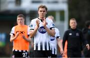 22 April 2019; Georgie Kelly of Dundalk applauds fans followiong the SSE Airtricity League Premier Division match between UCD and Dundalk at the UCD Bowl, Belfield in Dublin. Photo by Harry Murphy/Sportsfile