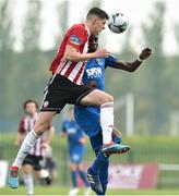 22 April 2019; Eoin Toal of Derry in action against Izzy Akinade of  Waterford during the SSE Airtricity League Premier Division match between Waterford and Derry at the RSC in Waterford. Photo by Matt Browne/Sportsfile