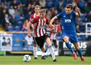 22 April 2019; Evan Tweed of Derry in action against  Aaron Drinan of  Waterford during the SSE Airtricity League Premier Division match between Waterford and Derry at the RSC in Waterford. Photo by Matt Browne/Sportsfile
