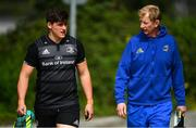 23 April 2019; Head coach Leo Cullen in conversation with Dan Sheehan during Leinster Rugby squad training at Rosemount in UCD, Dublin. Photo by Ramsey Cardy/Sportsfile
