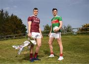 23 April 2019; Damien Comer of Galway, left, and Diarmuid O'Connor of Mayo at the official launch of the 2019 Connacht GAA Football Championships at Connacht GAA Centre in Claremorris, Co. Mayo. Photo by Harry Murphy/Sportsfile