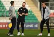23 April 2019; Jack Byrne, centre, of Shamrock Rovers with team-mates Trevor Clarke, left, and Aaron McEneff prior to the SSE Airtricity League Premier Division match between Shamrock Rovers at Bohemians at Tallaght Stadium in Dublin. Photo by Eóin Noonan/Sportsfile
