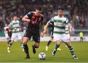 23 April 2019; Rob Cornwall of Bohemians in action against Ronan Finn of Shamrock Rovers during the SSE Airtricity League Premier Division match between Shamrock Rovers at Bohemians at Tallaght Stadium in Dublin. Photo by Eóin Noonan/Sportsfile