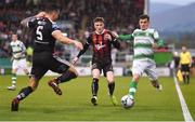 23 April 2019; Trevor Clarke of Shamrock Rovers is tackled by Rob Cornwall of Bohemians during the SSE Airtricity League Premier Division match between Shamrock Rovers at Bohemians at Tallaght Stadium in Dublin. Photo by Eóin Noonan/Sportsfile