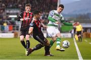 23 April 2019; Trevor Clarke of Shamrock Rovers in action against Rob Cornwall of Bohemians during the SSE Airtricity League Premier Division match between Shamrock Rovers at Bohemians at Tallaght Stadium in Dublin. Photo by Eóin Noonan/Sportsfile