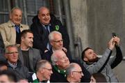 23 April 2019; Republic of Ireland manager Mick McCarthy, right, and assistant coach Robbie Keane have a photograph taken with a supporter during the SSE Airtricity League Premier Division match between Shamrock Rovers at Bohemians at Tallaght Stadium in Dublin. Photo by Seb Daly/Sportsfile