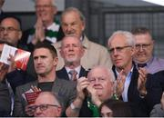 23 April 2019; Republic of Ireland assistant coach Robbie Keane, left, and Republic of Ireland manager Mick McCarthy during the SSE Airtricity League Premier Division match between Shamrock Rovers at Bohemians at Tallaght Stadium in Dublin. Photo by Eóin Noonan/Sportsfile