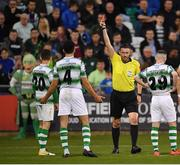 23 April 2019; Referee Paul McLaughlin shows a red card to Trevor Clarke of Shamrock Rovers, 20, during the SSE Airtricity League Premier Division match between Shamrock Rovers at Bohemians at Tallaght Stadium in Dublin. Photo by Seb Daly/Sportsfile