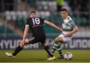 23 April 2019; Aaron Greene of Shamrock Rovers in action against James Finnerty of Bohemians during the SSE Airtricity League Premier Division match between Shamrock Rovers at Bohemians at Tallaght Stadium in Dublin. Photo by Eóin Noonan/Sportsfile