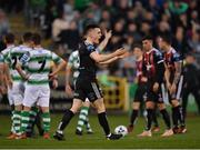 23 April 2019; Darragh Leahy of Bohemians reacts following the sending off of Trevor Clarke of Shamrock Rovers during the SSE Airtricity League Premier Division match between Shamrock Rovers at Bohemians at Tallaght Stadium in Dublin. Photo by Seb Daly/Sportsfile