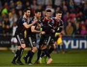 23 April 2019; Dinny Corcoran of Bohemians, second left, celebrates with team-mates, from left, Kevin Devaney, Daniel Mandroiu and Daniel Grant, after scoring his side's first goal during the SSE Airtricity League Premier Division match between Shamrock Rovers at Bohemians at Tallaght Stadium in Dublin. Photo by Seb Daly/Sportsfile