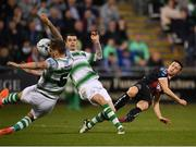 23 April 2019; Keith Buckley of Bohemians sees his shot strike the arm of Lee Grace, resulting in a penalty and second yellow card for Lee Grace,  during the SSE Airtricity League Premier Division match between Shamrock Rovers at Bohemians at Tallaght Stadium in Dublin. Photo by Seb Daly/Sportsfile
