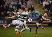 23 April 2019; Keith Buckley of Bohemians in action against Sean Kavanagh and Lee Grace of Shamrock Rovers during the SSE Airtricity League Premier Division match between Shamrock Rovers at Bohemians at Tallaght Stadium in Dublin. Photo by Seb Daly/Sportsfile