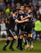23 April 2019; Dinny Corcoran of Bohemians, centre, is congratulated by team-mates Kevin Devaney, left, and Daniel Mandroiu, after scoring his side's first goal during the SSE Airtricity League Premier Division match between Shamrock Rovers at Bohemians at Tallaght Stadium in Dublin. Photo by Seb Daly/Sportsfile