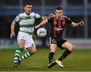 23 April 2019; James Finnerty of Bohemians in action against Aaron Greene of Shamrock Rovers during the SSE Airtricity League Premier Division match between Shamrock Rovers at Bohemians at Tallaght Stadium in Dublin. Photo by Seb Daly/Sportsfile