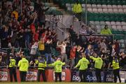 23 April 2019; Bohemians supporters celebrate after Dinny Corcoran of Bohemians scored their side's first goal during the SSE Airtricity League Premier Division match between Shamrock Rovers at Bohemians at Tallaght Stadium in Dublin. Photo by Eóin Noonan/Sportsfile