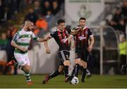 23 April 2019; Keith Buckley of Bohemians in action against Jack Byrne of Shamrock Rovers during the SSE Airtricity League Premier Division match between Shamrock Rovers at Bohemians at Tallaght Stadium in Dublin. Photo by Eóin Noonan/Sportsfile