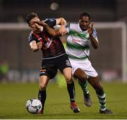 23 April 2019; Daniel Carr of Shamrock Rovers in action against Keith Buckley of Bohemians during the SSE Airtricity League Premier Division match between Shamrock Rovers at Bohemians at Tallaght Stadium in Dublin. Photo by Seb Daly/Sportsfile