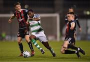 23 April 2019; Daniel Carr of Shamrock Rovers in action against Keith Buckley, left, and Darragh Leahy of Bohemians during the SSE Airtricity League Premier Division match between Shamrock Rovers at Bohemians at Tallaght Stadium in Dublin. Photo by Seb Daly/Sportsfile