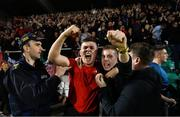23 April 2019; Bohemians supporters celebrate following the SSE Airtricity League Premier Division match between Shamrock Rovers at Bohemians at Tallaght Stadium in Dublin. Photo by Eóin Noonan/Sportsfile