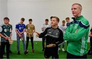 24 April 2019; Clare hurler Podge Collins, left, and Ballyhale Shamrocks manager Henry Shefflin during a coaching session at the launch of the Bank of Ireland Celtic Challenge 2019 at Croke Park in Dublin. Photo by Piaras Ó Mídheach/Sportsfile