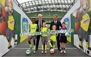 24 April 2019; Republic of Ireland mens national team manager Mick McCarthy, and Republic of Ireland Womens national team manager Colin Bell were on hand at the Aviva Stadium today to launch the 2019 SportsDirect.com FAI Summer Soccer Schools programme. The SportsDirect.com Summer Soccer Schools programme is the FAI's largest grass roots programme and one of the most important as it encourages children's involvement in sport, in a fun and friendly environment. Camps begin on July 1st and run right through to August 23rd, and are priced at €70. Pictured at the launch are, from left, Murphy Alade, age 11, from Irishtown, Dublin, Republic of Ireland mens national team manager Mick McCarthy, sisters Nicole Carberry, age 10, and Sarah Carberry, age 7, from Athlone, Co. Roscommon, Republic of Ireland womens national team manager Colin Bell, and Jamie Stafford Doyle, age 10, from Rosslare, Co. Wexford, at the Aviva Stadium in Dublin. Photo by Seb Daly/Sportsfile