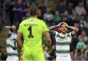 23 April 2019; Lee Grace of Shamrock Rovers, right, reacts after being sent off during the SSE Airtricity League Premier Division match between Shamrock Rovers at Bohemians at Tallaght Stadium in Dublin. Photo by Seb Daly/Sportsfile