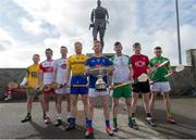 24 April 2019; Padraig Doherty, Donegal, Sean Cassidy, Derry, Niall O Muineachain, Kildare, Naos Connaughton, Roscommon, Warren Kavanagh, Wicklow, Shane Lawless, London, Paul Sheehan, Down, and Sean Geraghty, Meath, in attendance during a Christy Ring Competition promotion at Cloyne in Co Cork. Photo issued by Sportsfile