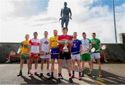 24 April 2019; Padraig Doherty, Donegal, Sean Cassidy, Derry, Niall O Muineachain, Kildare, Naos Connaughton, Roscommon, Paul Sheehan, Down,  Warren Kavanagh, Wicklow, Shane Lawless, London, and Sean Geraghty, Meath, in attendance during a Christy Ring Competition promotion at Cloyne in Co Cork. Photo issued by Sportsfile