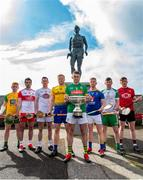 24 April 2019; Padraig Doherty, Donegal, Sean Cassidy, Derry, Niall O Muineachain, Kildare, Naos Connaughton, Roscommon, Sean Geraghty, Meath,Warren Kavanagh, Wicklow, Shane Lawless, London, and  Paul Sheehan, Down, in attendance during a Christy Ring Competition promotion at Cloyne in Co Cork. Photo issued by Sportsfile