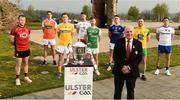 24 April 2019; Ulster GAA President Oliver Galligan along with from left, Darren O'Hagan of Down, Rory Grugan of Armagh, Neil Delargy of Antrim, Mattie Donnelly of  Tyrone, Ciaran Corrrigan of Fermanagh, Ciaran Brady of Cavan, Eamon Doherty of Donegal, and Conor McManus of Monaghan during the official launch of the 2019 Ulster Senior Football Championship launch at the Hill of The O'Neill in Dungannon, Co Tyrone. Photo by Oliver McVeigh/Sportsfile