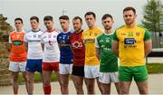 24 April 2019; From left, Rory Grugan of Armagh, Conor McManus of Monaghan, Mattie Donnelly of Tyrone, Ciaran Brady of Cavan, Darren O'Hagan of Down, Neil Delargy of Antrim, Ciaran Corrrigan of Fermanagh, and Eamon Doherty of Donegal during the official launch of the 2019 Ulster Senior Football Championship launch at the Hill of The O'Neill in Dungannon, Co Tyrone. Photo by Oliver McVeigh/Sportsfile