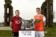 24 April 2019; Darren O'Hagan of Down and Rory Grugan of Armagh during the official launch of the 2019 Ulster Senior Football Championship launch at the Hill of The O'Neill in Dungannon, Co Tyrone. Photo by Oliver McVeigh/Sportsfile