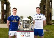 24 April 2019; Ciaran Brady of Cavan and Conor McManus of Monaghan  during the official launch of the 2019 Ulster Senior Football Championship launch at the Hill of The O'Neill in Dungannon, Co Tyrone. Photo by Oliver McVeigh/Sportsfile