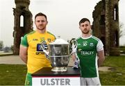 24 April 2019; Eamon Doherty of Donegal and Ciaran Corrigan of Fermanagh during the official launch of the 2019 Ulster Senior Football Championship launch at the Hill of The O'Neill in Dungannon, Co Tyrone. Photo by Oliver McVeigh/Sportsfile