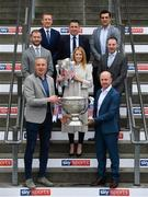 25 April 2019; Sky Sports today announced its GAA fixtures for the 2019 Championship from an event in Croke Park. A total of 20 live, and 14 exclusive, fixtures of Championship action will be available on Sky's multi-platform offering throughout the season. Sky Sports' exclusive coverage gets underway on Saturday May 11th when Brian Cody's Kilkenny take on Mattie Kenny's Dublin in the opening round of the Leinster Senior Hurling Championship in Nowlan Park. Kerry legend and four-time All-Ireland champion Kieran Donaghy joins Sky's blockbuster line-up of GAA legends giving viewers a truly modern view of the modern game. This year will once again see insight and analysis across both codes from Tyrone hero Peter Canavan, former Dublin GAA star Senan Connell, Clare's two-time All-Ireland champion Jamesie O'Connor, Kilkenny's nine-time All-Ireland winner JJ Delaney and four-time All-Star defender Ollie Canning. Lead commentary will come from Dave McIntyre and Mike Finnerty with co-commentary from Nicky English, Mick Fennelly, Dick Clerkin and Paul Earley, and sideline reporting from Damian Lawlor. In attendance at the launch is Rachel Wyse, with, clockwise from front left, Kieran Donaghy, JJ Delaney, Ollie Canning, Senan Connell, Brian Carney, Jamesie O'Connor and Peter Canavan with the Sam Maguire and Liam MacCarthy Cups. Photo by Sam Barnes/Sportsfile
