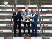 25 April 2019; Sky Sports today announced its GAA fixtures for the 2019 Championship from an event in Croke Park. A total of 20 live, and 14 exclusive, fixtures of Championship action will be available on Sky's multi-platform offering throughout the season. Sky Sports' exclusive coverage gets underway on Saturday May 11th when Brian Cody's Kilkenny take on Mattie Kenny's Dublin in the opening round of the Leinster Senior Hurling Championship in Nowlan Park. Kerry legend and four-time All-Ireland champion Kieran Donaghy joins Sky's blockbuster line-up of GAA legends giving viewers a truly modern view of the modern game. This year will once again see insight and analysis across both codes from Tyrone hero Peter Canavan, former Dublin GAA star Senan Connell, Clare's two-time All-Ireland champion Jamesie O'Connor, Kilkenny's nine-time All-Ireland winner JJ Delaney and four-time All-Star defender Ollie Canning. Lead commentary will come from Dave McIntyre and Mike Finnerty with co-commentary from Nicky English, Mick Fennelly, Dick Clerkin and Paul Earley, and sideline reporting from Damian Lawlor. In attendance at the launch are, from left, Senan Connell, Kieran Donaghy and Peter Canavan with the Sam Maguire Cup. Photo by Sam Barnes/Sportsfile
