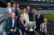 25 April 2019; Sky Sports today announced its GAA fixtures for the 2019 Championship from an event in Croke Park. A total of 20 live, and 14 exclusive, fixtures of Championship action will be available on Sky's multi-platform offering throughout the season. Sky Sports' exclusive coverage gets underway on Saturday May 11th when Brian Cody's Kilkenny take on Mattie Kenny's Dublin in the opening round of the Leinster Senior Hurling Championship in Nowlan Park. Kerry legend and four-time All-Ireland champion Kieran Donaghy joins Sky's blockbuster line-up of GAA legends giving viewers a truly modern view of the modern game. This year will once again see insight and analysis across both codes from Tyrone hero Peter Canavan, former Dublin GAA star Senan Connell, Clare's two-time All-Ireland champion Jamesie O'Connor, Kilkenny's nine-time All-Ireland winner JJ Delaney and four-time All-Star defender Ollie Canning. Lead commentary will come from Dave McIntyre and Mike Finnerty with co-commentary from Nicky English, Mick Fennelly, Dick Clerkin and Paul Earley, and sideline reporting from Damian Lawlor. In attendance at launch are, clockwise from back left, Brian Carney, Ollie Canning, JJ Delaney, Rachel Wyse, Uachtaráin Cumann Lúthchleas Gael John Horan, Kieran Donaghy, Senan Connell, Jamesie O'Connor, JD Buckley, MD, Sky Ireland and Peter Canavan. Photo by Brendan Moran/Sportsfile